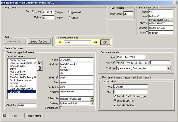 Main document menu dialog